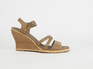 Womens Timberland Maeslin Ankle Strap 8003A Brown Leather Out Door Wedge Sandals