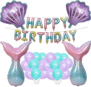 Mermaid Birthday Party Decorations,Mermaid Foil Balloons Set,Happy Birthday Girl