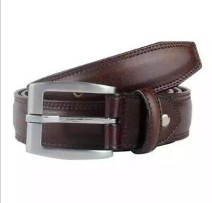 Men's Dark Brown  Stitch 1.5 inch wide (40mm) Full Grain Hide Leather Belt