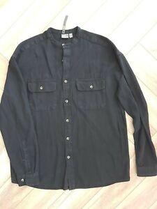 ASOS small Mens Grandad Collar Cotton Black Shirt