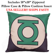 "18x18 18""x18"" MINION GREEN LANTERN Throw Pillow Case & Cushion Disney Marvel DC"