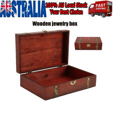AU Stock Wooden Oversize Vintage Treasure Chest Wood Jewellery Storage Box Case