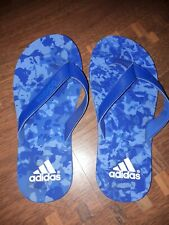 Adidas Boys Flip Flops In Blue Size 3 In Good Condition