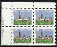 CANADA #925 34¢ Parliament UL Inscription Block MNH