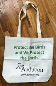 NEW Audubon Protect the Birds Cotton Natural Canvas Tote Bag Grocery