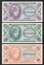 5¢, 10¢ and 50¢ Military Payment Certificates, Series 641, Gem UNC,
