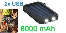 Batterie powerbank USB externe portable 8000mA solaire avec torche LED
