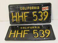 "Vintage 1963 PAIR CA Automobile License Plates ID Tags ""HHF 539"" Rare"