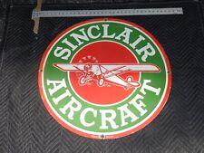 "VINTAGE SINCLAIR AIRCRAFT AIRPLANE  30"" PORCELAIN METAL SSP GASOLINE & OIL SIGN!"