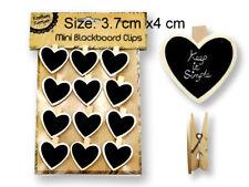 New 12pc Mini Heart Chalkboard w Clips Pegs Heart Peg Party Wedding
