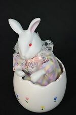 Vintage Easter Bunny In An Egg Shell - Music Box. Made in Taiwan. See Video.
