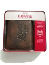 Levi's Mens Trifold Zipper Wallet RFID Blocking Brown Leather New w Box