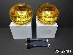 For Datsun 510 521 620 621 410 FRENCH AMBER FOG LIGHT HEADLIGHT SET NEW 5- 3/4