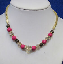 Charter Club Necklace Faceted Round Beads Pink Rhinestone Gold Tone Snake Chain