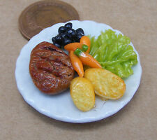 1:12 Scale Large Steak Salad With Rolls On 3.5cm Ceramic Plate Dolls House Food