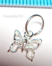 4x STERLING SILVER DANGLE BUTTERFLY CHARM PENDANT 7mm BEAD N627
