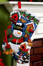 "Bucilla Snowman with Birds ~ 18"" Felt Christmas Stocking Kit #86234  Birdhouses"