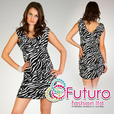 Sensual & Elegant Women's Dress Stretch Bodycon Zebra V-Neck FT892