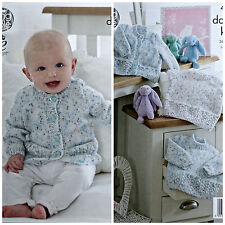 Baby KNITTING PATTERN Baby's Cable Hem Cardigan & Jumpers DK King Cole 4792