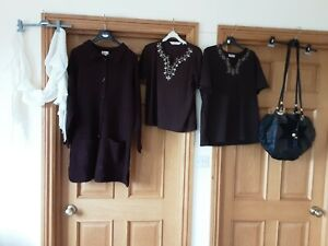 Bundle Of Ladies Clothes Size 16 Chunky Cardigan, bon Marche tops, Scarf  bag