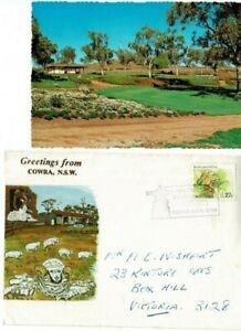 Stamp 27c frog on Cowra NSW tourism cover Japanese Gardens postcard & postmark