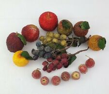 Vintage Beaded Jewel Artificial Fruit Mid Century Modern 17pc Free Shipping