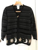 Quacker Factory Celestial Sweater Stars Moon Sun Black Zip Front Cardigan Sz 1X