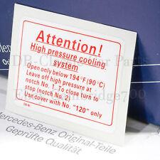 ORIGINAL MERCEDES Aufkleber Kühlwasser Sticker W123 W124 W126 W201 Warnaufkleber