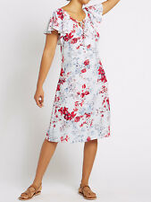 EX M&S COLLECTION FLORAL DRESS SHORT SLEEVED TIE NECK 8-20  £15.99