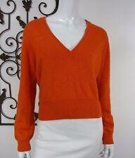 Michael Kors Long Sleeve Sweater Size L Large Metallic SOLID Orange V NECKLINE