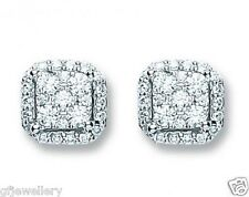 18CT HALLMARKED WHITE GOLD 0.25CT G SI1 BRILLIANT CUT CLUSTER HALO STUD EARRINGS