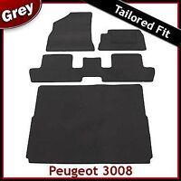 Peugeot 3008 Mk1 2009-2016 Tailored Floor Carpet Car and Boot Mats GREY