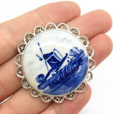 Delft Jewelry Antique 835 Silver Blue White Windmill Hand-Painted Pin Brooch