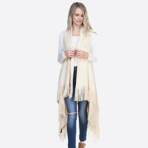 NWT women's sleeveless long Solid knit vest fringes one size poncho fall tunic