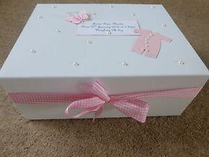 Personalised memory Box New Baby Keepsake Box pink blue /boy girl
