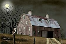 New Primitive Country MIDNIGHT MOON Owl Red Barn LIGHTED Picture Billy Jacobs