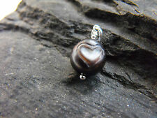 925 silver carved egg black PEARL PENDANT HEART OOAK #16 handcrafted unoque