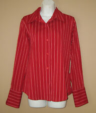Womens Size Medium Long Sleeve Fashion Red Striped Casual Career Top Shirt