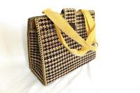 Ladies Women Jute Weave Handbag Brown Square (S)