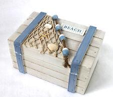 COFFRE BOIS PLAGE Boîte 18cm Blanc-bleu ciel caisse