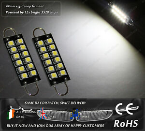LED SMD 44mm Rigid Loop 265 Hook Xenon White License Number Plate Lights Bulbs