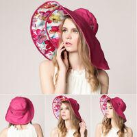 Summer Women Floppy Sun Hats Removable Wide Brim UV Protection Fishing Beach Cap
