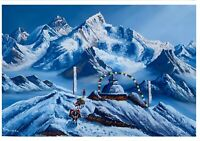 MOUNT EVEREST VIEW FROM  KALA PATTHAR ORIGINAL ACRYLIC PAINTING ON CANVAS 24x36""