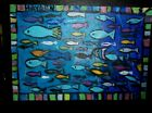 """outsider folk art painting """"  fish  tribute to paul klee   """"  modern abstract"""