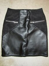 WOMEN'S H&M DIVIDED BLACK MINI STRETCH SKIRT BACK ZIP SIZE 2 US/32 EUR NWT