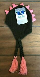 Grayish Green Dino Knit Dog Hat - S or L - Pink Spike Mohawk - Top Paw - NWT