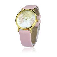 Ladies Fashion Gold Tone Quartz World Map Pink Banded Wrist Watch. (Aussie)