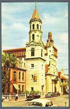 Roman Catholic Cathedral in St Augustine Florida ~ 1955 street scene postcard