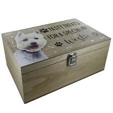 Westie Dog Treats Food Toys Storage Box Container Holder Puppy Toy Wooden Box