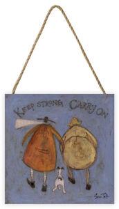 Sam Toft - Keep Strong Carry On - Wooden Block Wall Art 20 x 20 x 3cm Deep